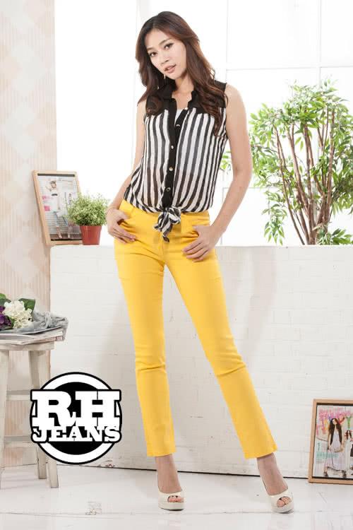 【RH】馬卡龍超顯瘦彈性長褲(鮮甜黃)