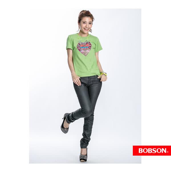 【BOBSON】女款心型印圖短袖上衣(果綠40)