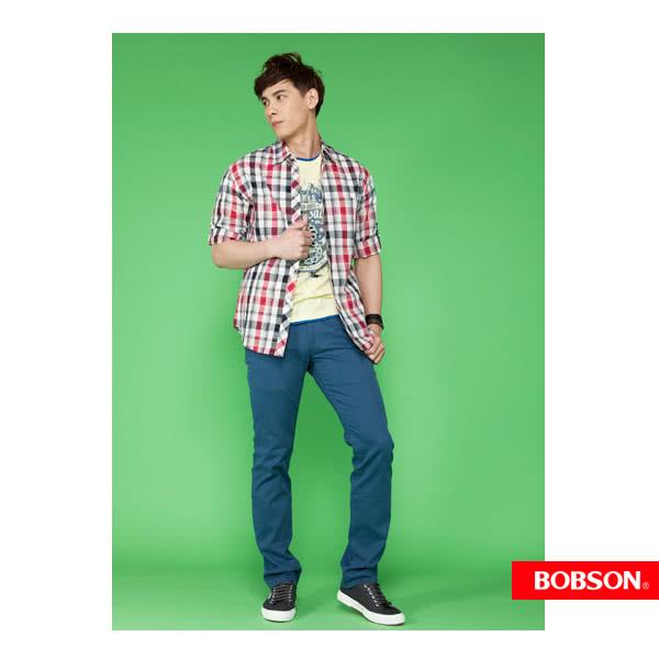 【BOBSON】男款七分袖腰身格紋襯衫(紅24004-13)