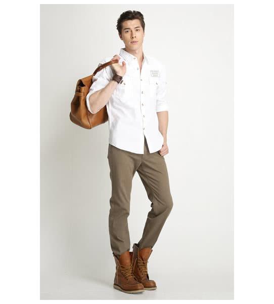 【BOBSON】男款腰線素面長袖襯衫(白34005-80)