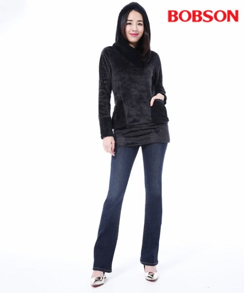 【BOBSON】女款保暖膠原蛋白小喇叭褲(8100-52)