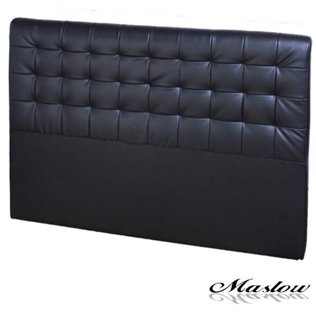 【Maslow-時尚格紋皮製】雙人床頭-5尺(黑)