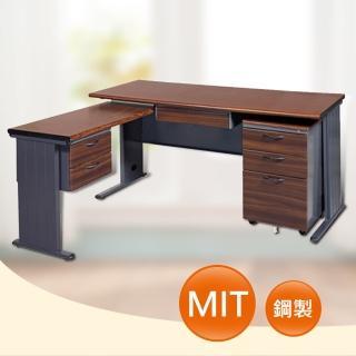 【時尚屋】150CM 胡桃木紋色辦公桌+側桌櫃組(252-2)