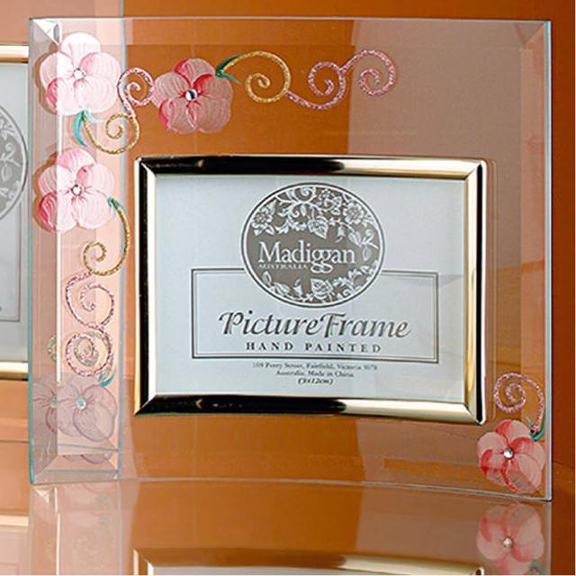 【Madiggan貝斯麗】玫瑰手工彩繪橫式玻璃相框(粉紅.紫色.金黃三色任選)