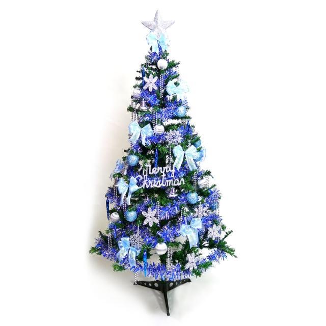 【聖誕裝飾品特賣】幸福6尺-6呎(180cm一般型裝飾綠聖誕樹+藍銀色系配件+100燈LED燈1串-附控制器跳機)