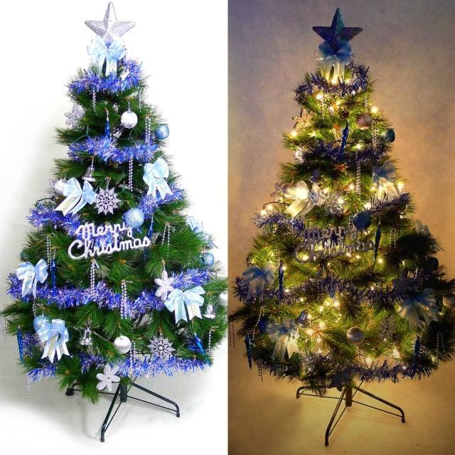 【聖誕裝飾特賣】台灣製10尺-10呎(300cm特級綠松針葉聖誕樹+藍銀色系配件組+100燈鎢絲樹燈7串)