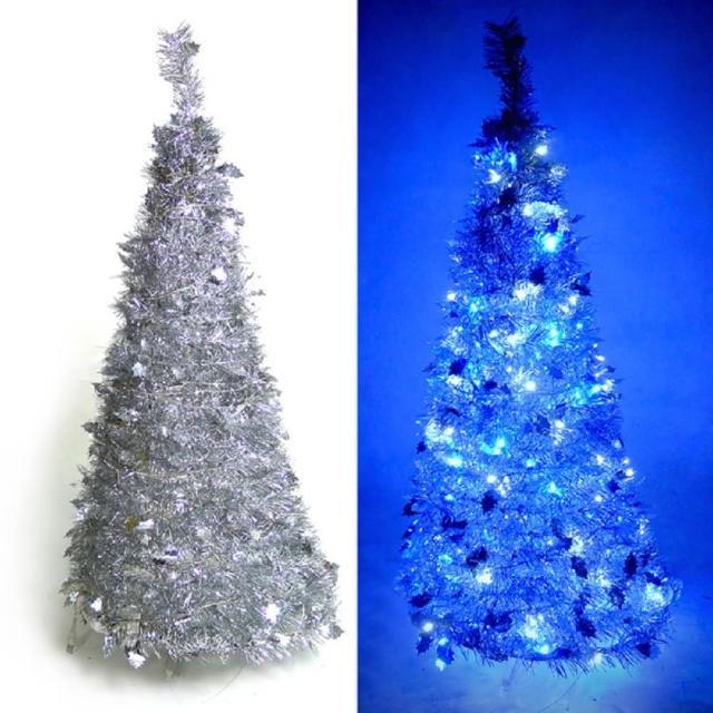 【聖誕裝飾特賣】4尺-4呎(120cm  創意彈簧摺疊聖誕樹 銀色系+LED100燈串一條 9光色可選)