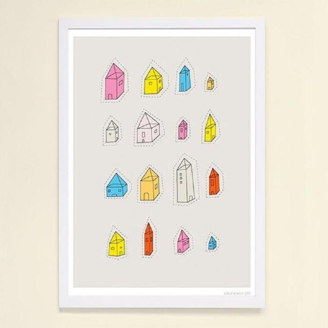 【摩達客】西班牙知名插畫家Judy Kaufmann藝術創作海報掛畫裝飾畫-透明屋(附簽名 含木框)