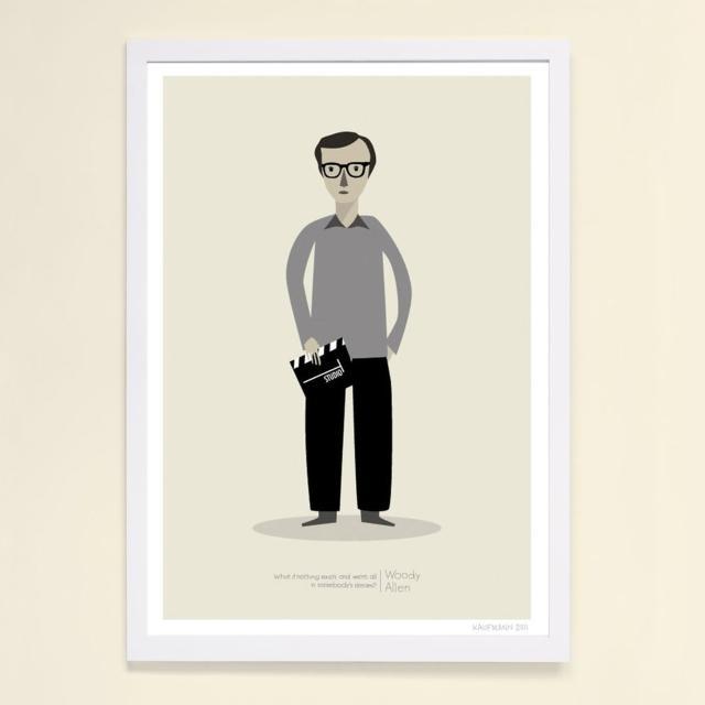 【摩達客】西班牙知名插畫家Judy Kaufmann藝術創作海報掛畫裝飾畫-伍迪艾倫(附簽名 含木框)