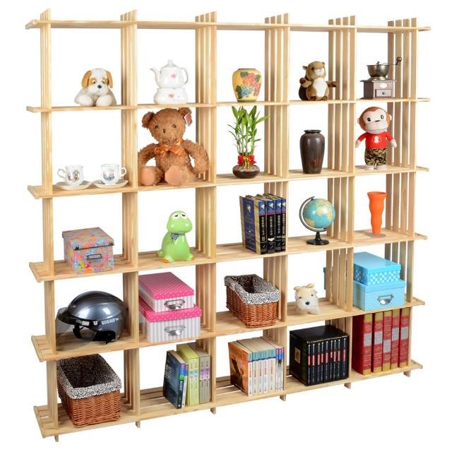 【LIFECODE】極簡風黃松木正二十五格架-實木置物書架