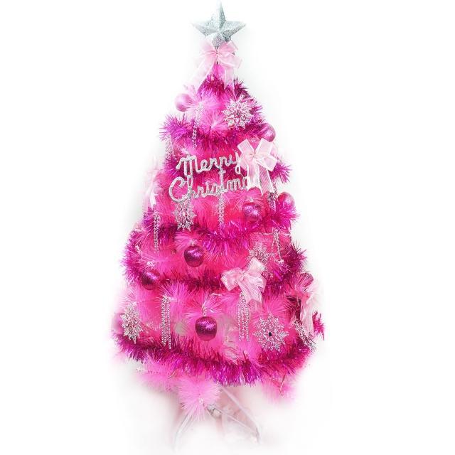 【聖誕裝飾品特賣】台灣製4尺(120cm特級粉紅色松針葉聖誕樹-銀紫色系配件(不含燈)