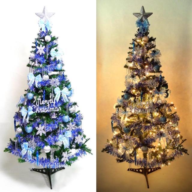 【聖誕裝飾品特賣】超級幸福12尺-12呎(360cm一般型綠裝飾聖誕樹+藍銀色系配件+100燈鎢絲樹燈8串)