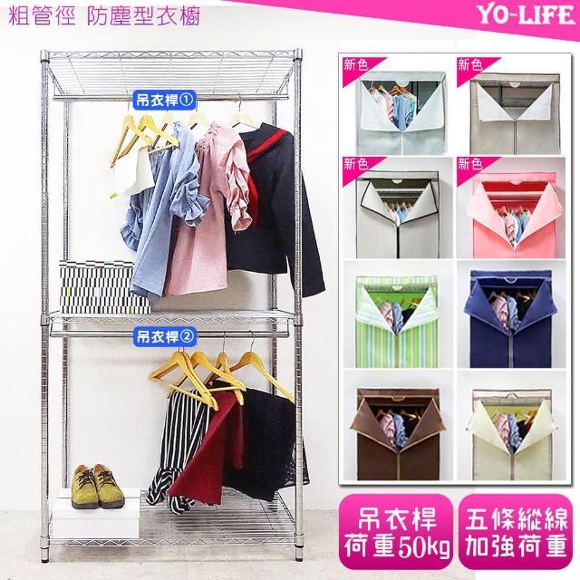 【yo-life】全電鍍雙吊衣粗桿衣櫥組-贈防塵套(三色任選-直紋or藍色or米色91X46X180cm)