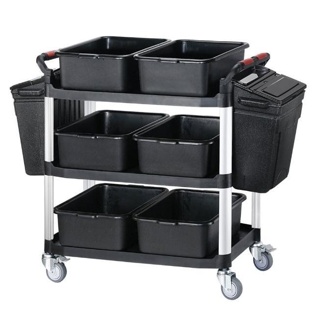 【SONA MORE】大型三層餐廚整備工作推車+整理籃+掛桶(豪華全配組)
