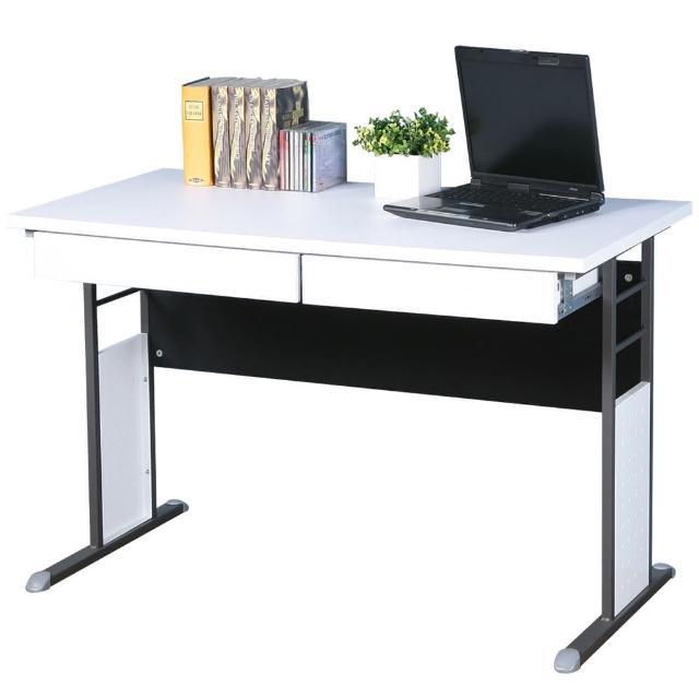 【Homelike】巧思辦公桌 炫灰系列(白色加厚桌面120cm-附二抽屜)
