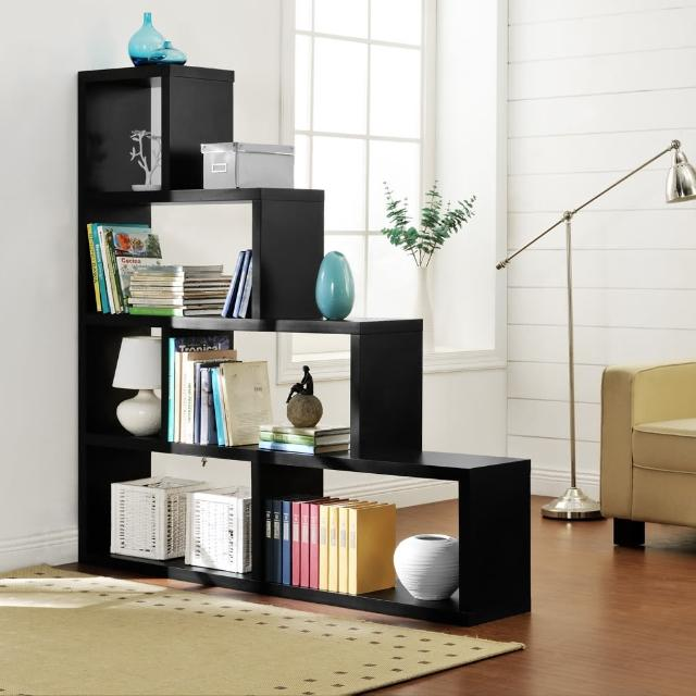 【FUN生活】DIY L型多層展示櫃-書櫃-收納櫃-隔間櫃(黑色)