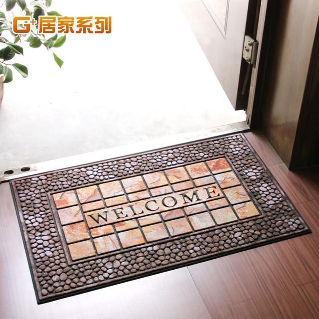 【居家G+】橡膠植絨迎賓戶外地墊腳踏墊(德式方磚款)