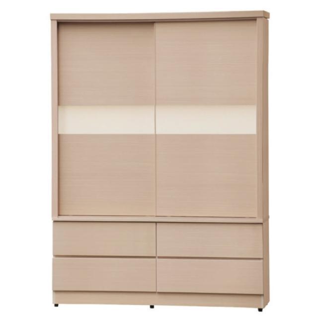 【綠活居】加布森5x7尺四抽推門衣櫃(兩色可選)