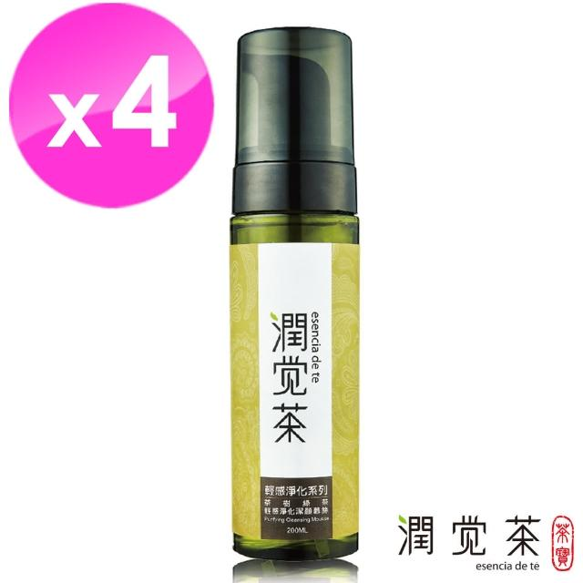 【茶寶 潤覺茶】茶樹綠茶輕感淨化潔顏慕斯200ml(4瓶組)