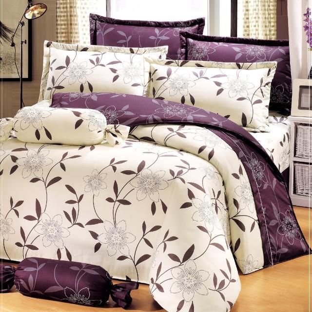 【艾莉絲-貝倫】花香樂譜(6.0呎x6.2呎)四件式雙人加大(100%純棉)鋪棉兩用被套床包組(米色)