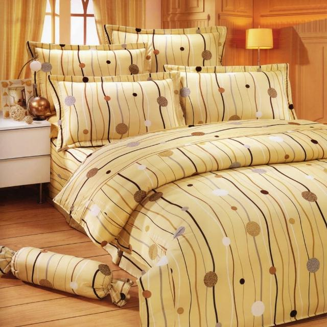 【艾莉絲-貝倫】跳動的音符(6.0呎x6.2呎)六件式雙人加大(100%純棉)鋪棉床罩組(米黃色)