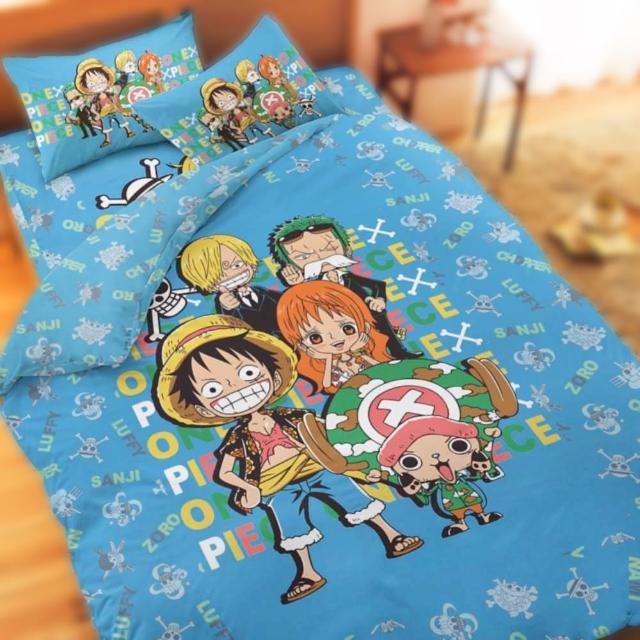 【享夢城堡】單人床包兩用被套精梳棉三件式組(航海王 友誼之光-藍)