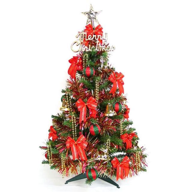【聖誕裝飾特賣】幸福3尺-3呎(90cm一般型裝飾綠聖誕樹 +飾品組-紅金色系不含燈)