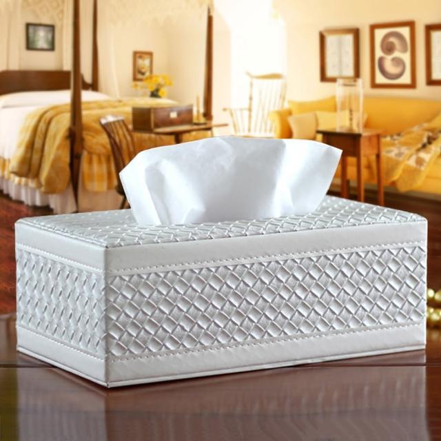 【幸福揚邑】精品編織格紋皮革 磁吸式收納面紙盒-紙巾盒-經典白