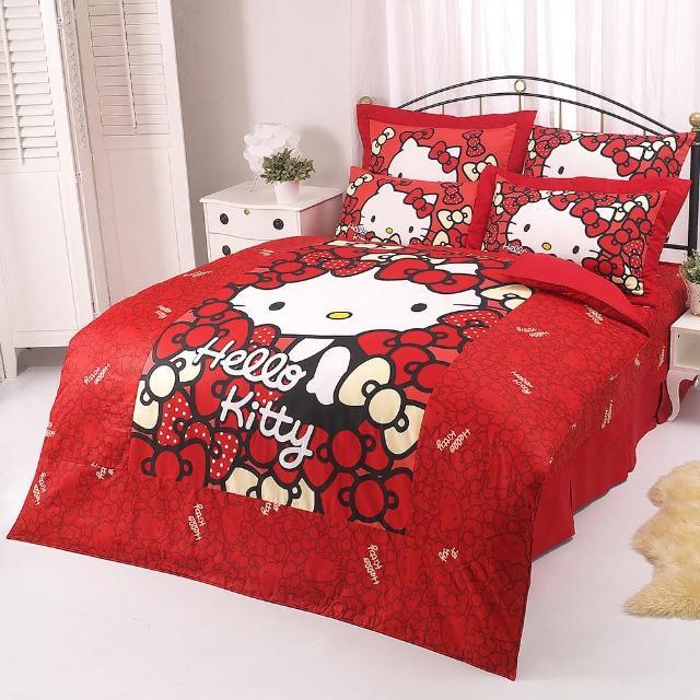 【享夢城堡】HELLO KITTY 我的Ribbon時尚系列-單人純棉三件式床包兩用被組(紅)