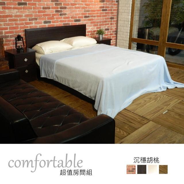 【時尚屋】喬伊絲床片型4件房間組-床片+床底+床頭櫃1個+床墊-四色可選(1WG5-22W+GA14-5)
