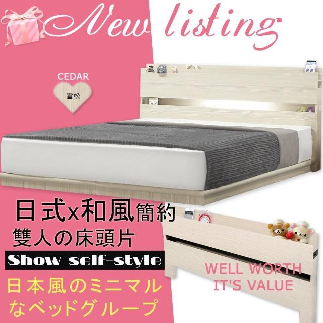 【HOME MALL-日式美學崁燈】雙人床頭片(雪松色)