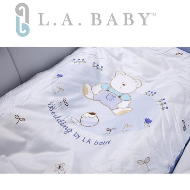 【美國 L.A. Baby】田園巴黎純棉七件式寢具組(M)(MIT 藍色-米黃色)