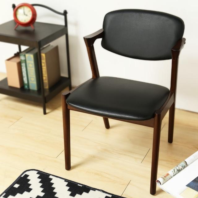 【H&D】Elvis 艾維斯北歐風雅緻單椅-餐椅-書椅(皮 黑 椅 H&D)