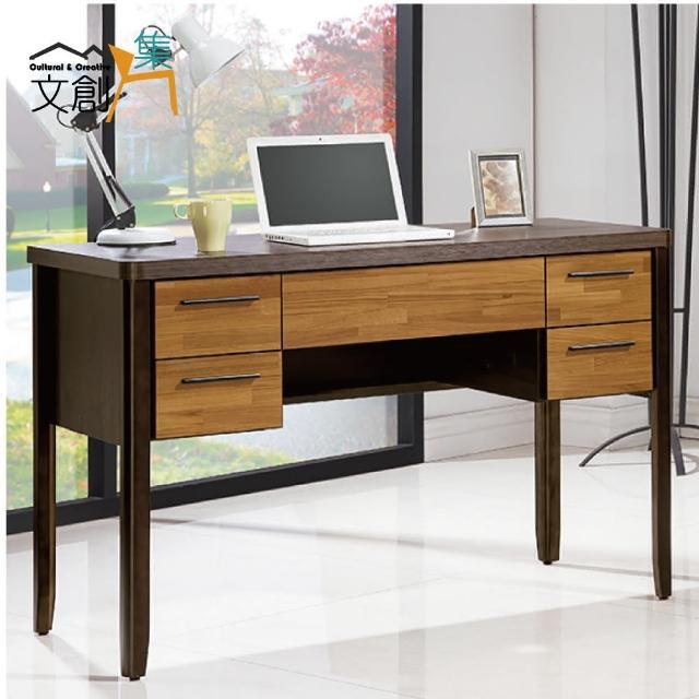 【文創集】耶利夫 木紋雙色4尺書桌-電腦桌