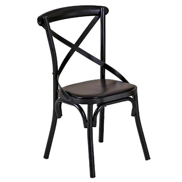 【AT HOME】瑪德琳黑色交叉皮面餐椅