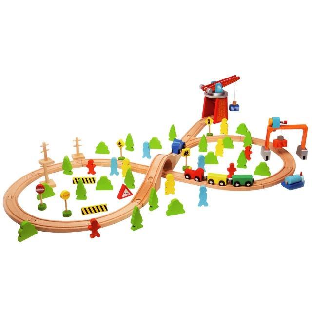 【Classicworld 德國經典木玩客來喜】大型交通軌道組75pcs