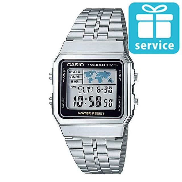 【CASIO】世界城市復古風不鏽鋼錶(A-500WA-1)