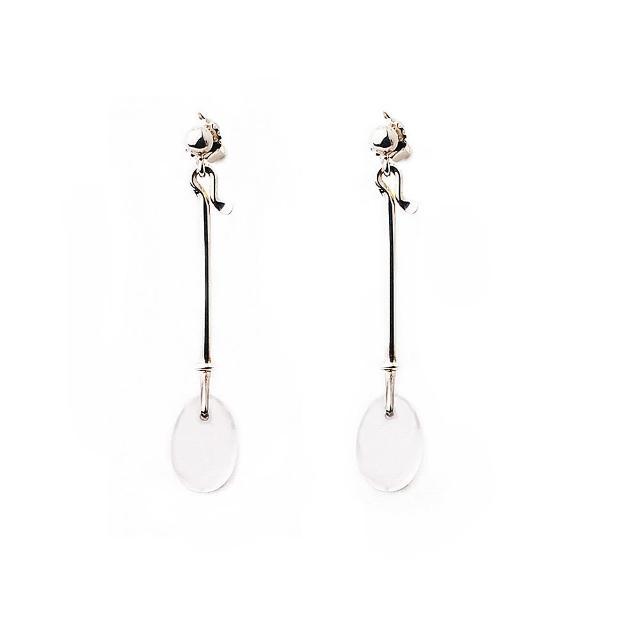 【Georg Jensen】Dew Drop 白水晶針式純銀耳環