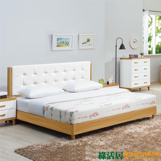 【綠活居】羅曼達 原木紋雙色6尺床台組合(不含床墊)