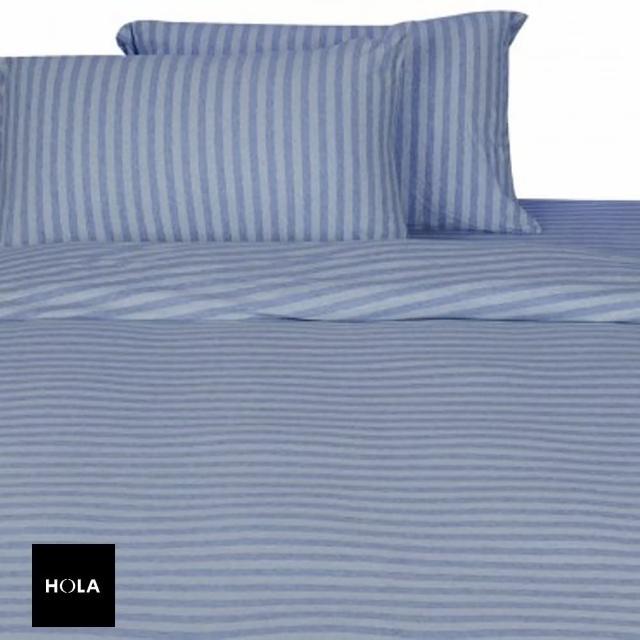 HOLA home自然針織條紋被套 單人 經典淺藍