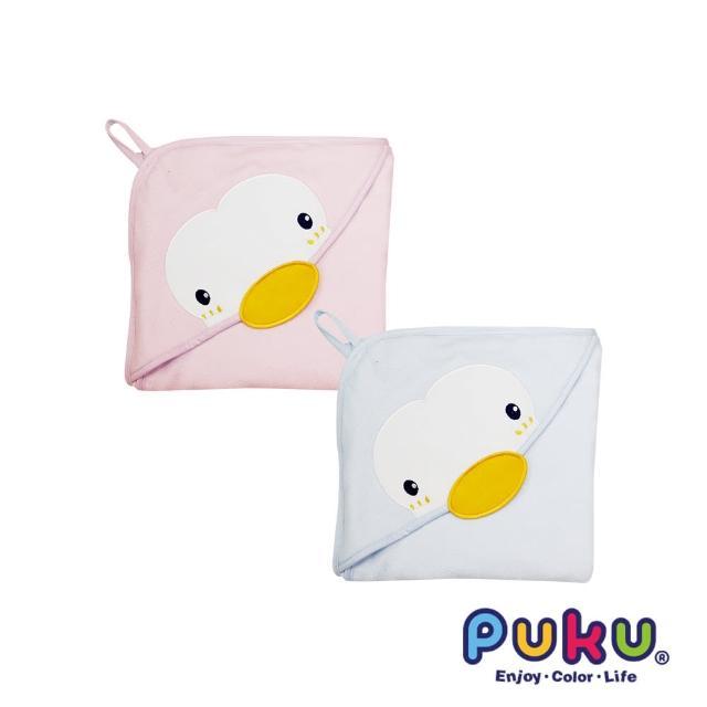 【PUKU藍色企鵝】造型連帽紗布浴巾-75-75cm(水色)