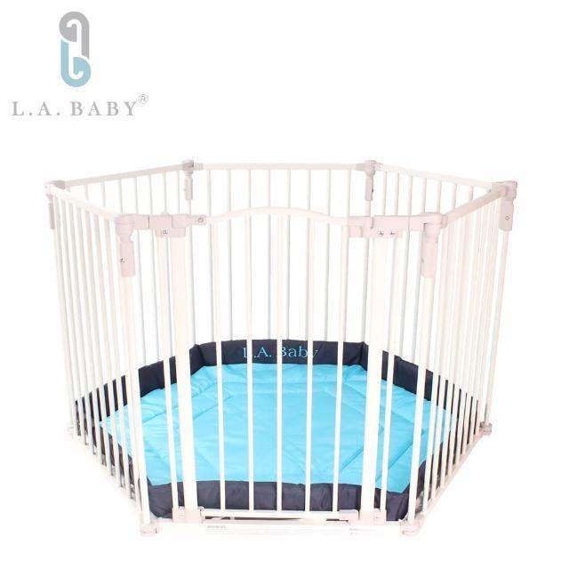 【L.A. Baby 加州貝比】多功能兒童安全自動上鎖圍欄(軟墊綠色)