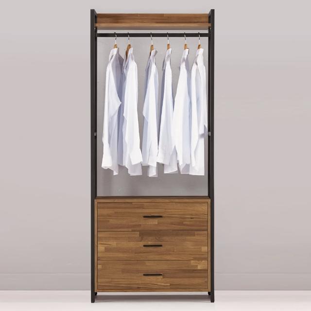 【Bernice】諾德2.7尺開放式三抽衣櫃