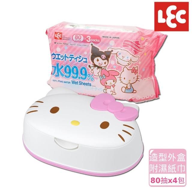 【日本LEC】Hello Kitty純水濕紙巾便利5件組(造型外盒+80抽x4包)