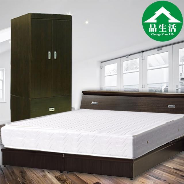 【品生活】經典優質四件式房間組2色可選-單人加大3.5尺(床頭+床底+衣櫥+獨立筒-6分板)