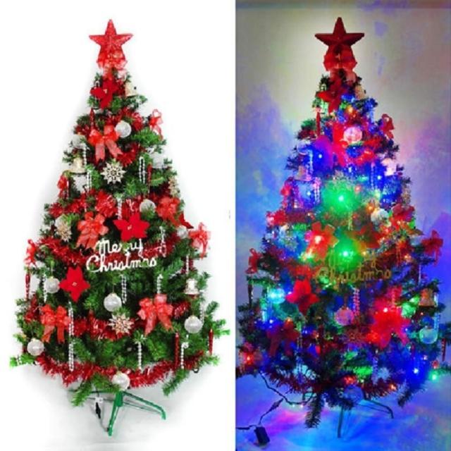 【聖誕裝飾品特賣】台灣製5尺-5呎(180cm豪華版綠聖誕樹+白五彩紅系飾品組+100燈LED燈2串 附控制器跳機)