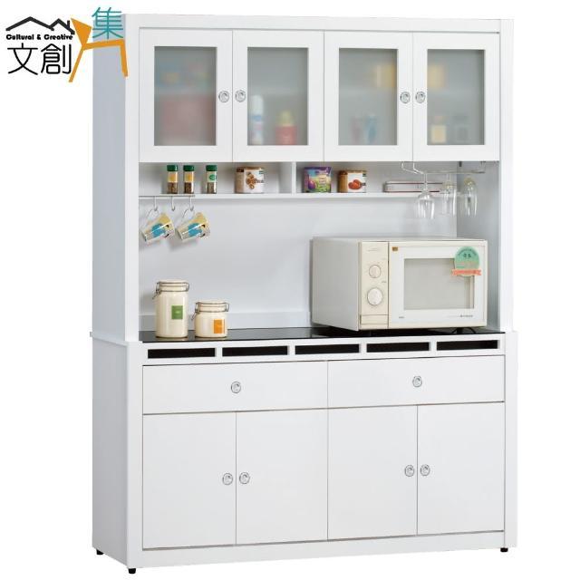 【文創集】米森    時尚白5.3尺玻璃餐櫃-收納櫃組合(上+下座)