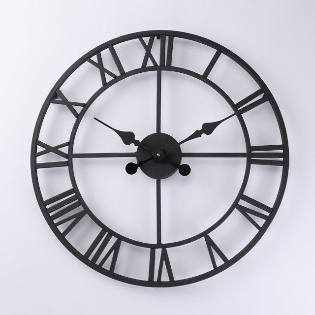 【HOLA】HOLA home懷特羅馬數字工業風金屬掛鐘