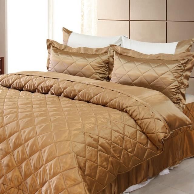 【LAMINA】LAMINA 雙色亮面精梳棉六件式床罩組-可可咖(加大)