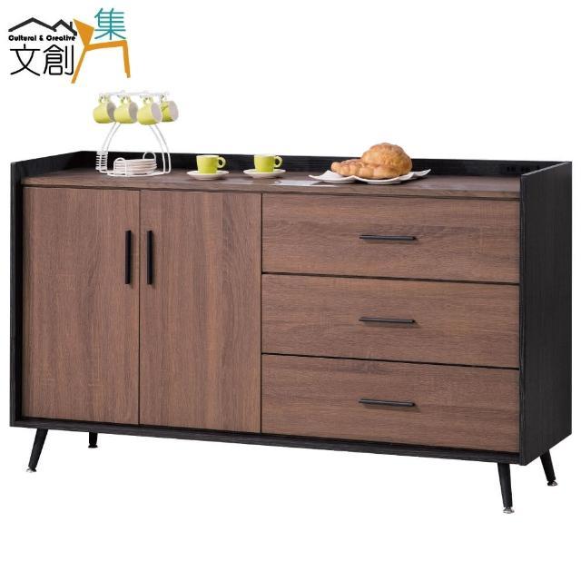 【文創集】尼雅 時尚5尺木紋雙色餐櫃-收納櫃